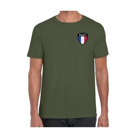 T-Shirt Drapeau Français FLAG SHIELD 2020 5.11 tactical - t-shirt militaire moral shirt 5.11 tactical Quaerius