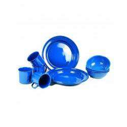 Set Vaisselle Emaillé Bleu 12 Pièces - Set de Vaissele pour Camping Quaerius