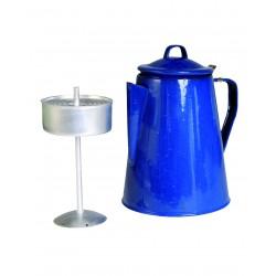 Cafetière Emaillée Bleue avec Parcolateur - Cafetière en Email Bleu Quaerius