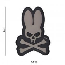 Patch 3D PVC Skull Lapin Gris