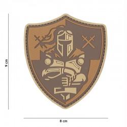 Patch 3D PVC Knight Shield Marron