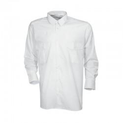 Chemise pilote Cityguard de couleur blanche, équipée de 2 poches de poitrine et de passants de grade sur les épaules.
