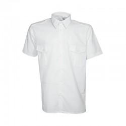 Chemisette pilote Cityguard de couleur blanche, équipée de 2 poches de poitrine et de passants de grade sur les épaules.