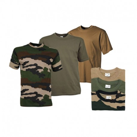 3 T-shirts militaire : 2 Uni et 1 Camouflage CE - Equipement militaire t-shirt camouflage quaerius