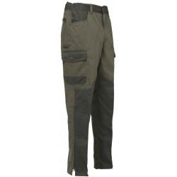 Fuseau 65% polyester et 35% coton traité DWR 6 poches dont 1 poche-couteau, avec une ceinture élastiquée anti-glisse et des bas zippés