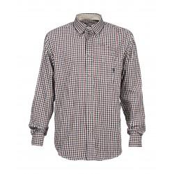 Composée de fibre 100% coton, la chemise chasse Normandie Percussion est de couleur Bordeaux et équipée d'une poche poitrine.