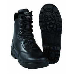 Bottes Tactical en Cuir - Chaussures Militaires Noires Quaerius