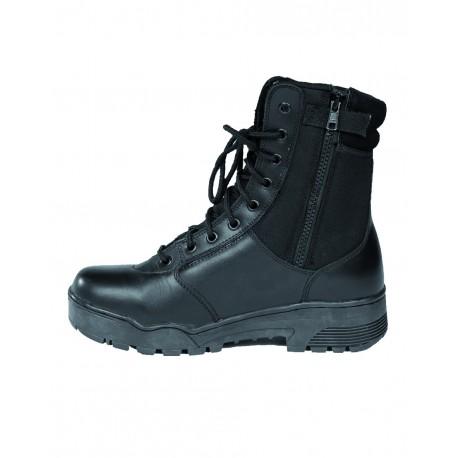 Bottes Tactical en Cuir et Cordura à Zip - Chaussures Militaires Police Marche Quaerius