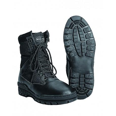Bottes Swat Noires - Chaussures Militaire Cuir Quaerius
